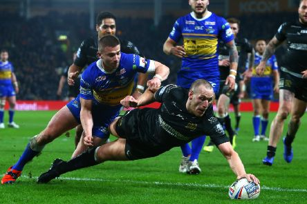 Hull FC's Dean Hadley scores against Leeds Rhinos earlier this season. Picture by Ash Allen/SWpix.com