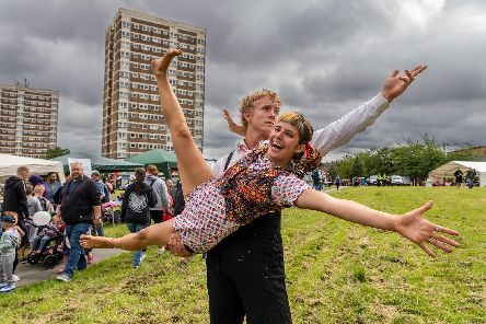 Festival entertainers Nina Bannister and Olva Widmark. PIcture: James Hardisty.