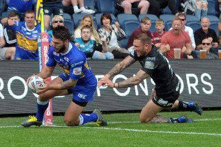 Tom Briscoe scores his second try against Hull FC today. Picture Tony Johnson.