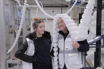 Cherry Healy and Gregg Wallace at the Harrison Spinks bed factory in Leeds