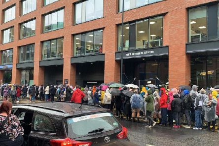 The queues for the bus to Ed Sheeran in Leeds city centre.