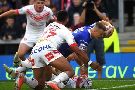 Ash Handley in action against St Helens. PIC: Jonathan Gawthorpe/JPIMedia