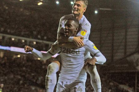 Leeds United loanee Eddie Nketiah celebrates his winning goal at Elland Road.
