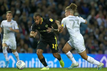 Brentford's Bryan Mbeumo and Leeds United's Kalvin Phillips battle for the ball during Wednesday's match.