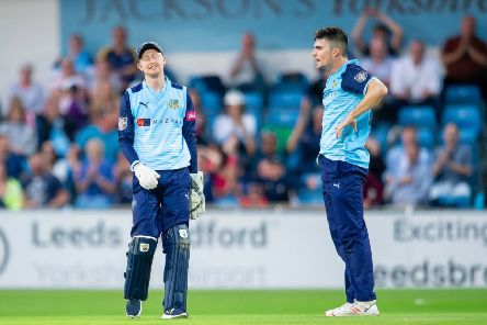 FRUSTRATION: Jonathan Tattersall and Jordan Thompson show their dismay during defeat to Worcestershire. Picture: Allan McKenzie/SWpix.com