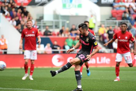 FINE START: Leeds United winger Jack Harrison nets his side's third goal in the 3-1 win at Bristol City over the opening weekend of the new Championship season. Photo by Alex Davidson/Getty Images.