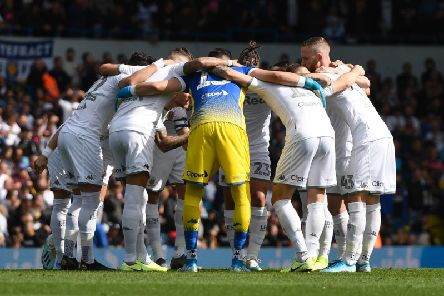 Leeds United players in a team huddle before the game against Swansea City at Elland Road.
