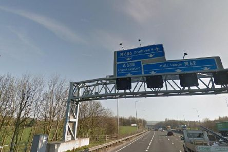 A rush hour crash is causing delays on the M62 between Junction 25 at Brighouse and Junction 26 at Chain Bar (Photo: Google)