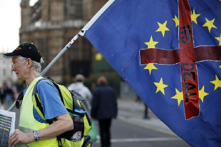 A demonstrator carries a flag as he walks near the Houses of Parliament in central London. Photo: TOLGA AKMEN/AFP/Getty Images