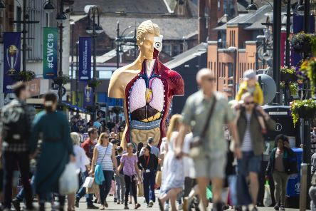 A six metre-tall Damien Hirst painted bronze sculpture, Hymn (1999-2005), stands in Leeds city centre for the opening of Yorkshire Sculpture International, the UK's largest dedicated sculpture festival.