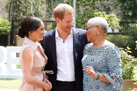 Prince Harry, Duke of Sussex, and Meghan, Duchess of Sussex, meet Graca Machel, widow of the late Nelson Mandela during their recent visit to South Africa.
