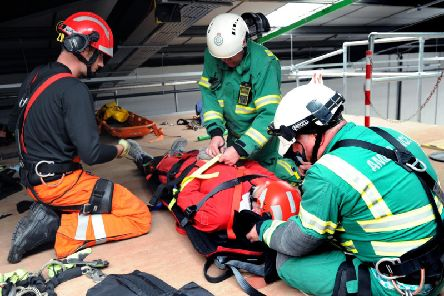Training  at the Yorkshire Ambulance Service NHS Trust Hazardous Area Response Team facility in Beeston, Leeds in 2015. Picture by Jonathan Gawthorpe.