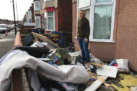 Shannon Mitchell outside her home in Bentley, Doncaster. Credit: George Torr/LDR