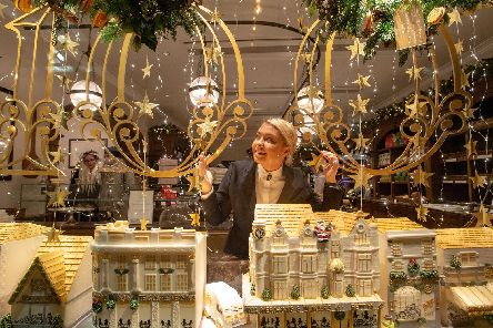 The focal point of this year's Harrogate and York windows is this stunning recreation of a cake from 1904
