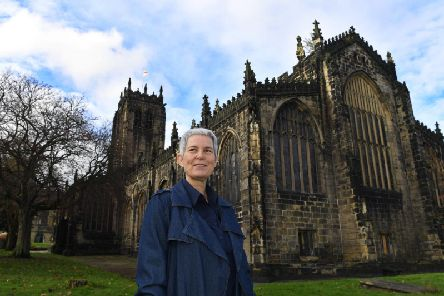 Anne Choma, a historical adviser for Gentleman Jack, outside Halifax Minster, where Anne Lister was baptised and buried.