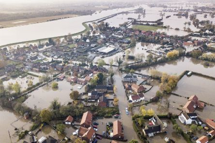 An aerial picture of Fishlake at the height of this month's floods.