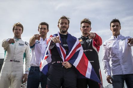 British Formula E drivers Oliver Turvey, Alexander Sims, Sam Bird, Penistone's Oliver Rowland and James Calado line-up ahead of the season-opening double header at Diriyah, Saudi Arabia. Picture: CSM.
