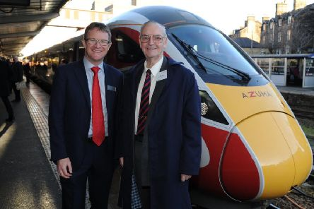 Lunch of the new Azuma train at Harrogate Station - Brian Dunsby from Harrogate Line Supporters, right, with David Horne, managing director of LNER . (Picture Gerard Binks)
