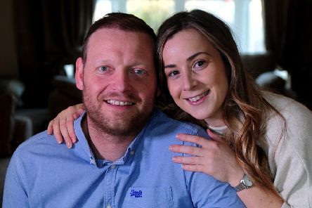 Russell Alderson pictured with his partner Hayley Stedman .Picture by Simon Hulme