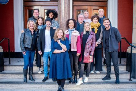 Writer Kay Mellor, front, centre, with the cast of Band of Gold.