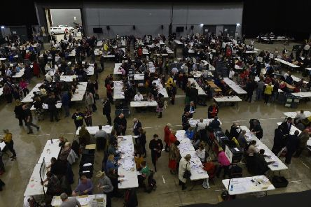 An election count underway in Leeds.
