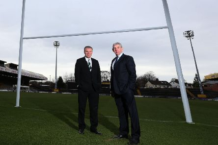Happier times: Gary Hetherington, left, and Sir Ian McGeehan following a press conference to launch a new vision for rugby union in Yorkshire in 2014. Picture: Lynne Cameron/PA