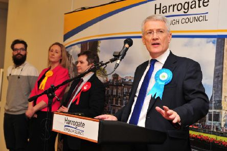 Andrew Jones is delighted to have been re-elected as the MP for Harrogate & Knaresborough. Picture: Gerard Binks