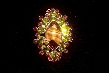 Vintage jewellery offers the chance to buy a one-off quality piece at a bargain price. This beautiful green and ruby crystal and polished tiger's eye stone brooch is �10 at new vintage, art and craft emporium 53 Bo' Grove in Harrogate. There's a lovely cafe, too.