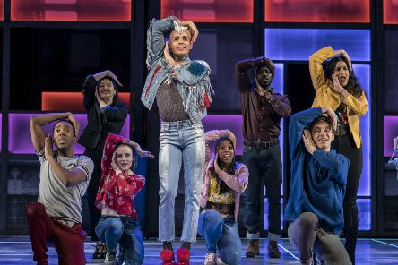 Layton WIlliams (Jamie) and the Ensemble in Everybody's Talking About Jamie at the Apollo Theatre. Photo credit Johan Perrson