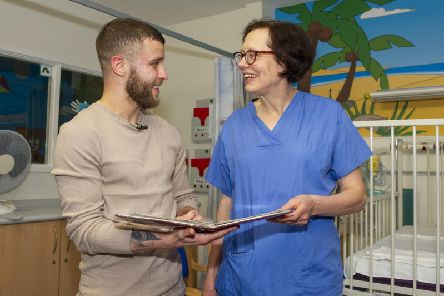 Tommy Frank  visited to the Leeds Childrens Hospital to meet Carin Van Doorn, the cardiac surgeon who performed his operation 21 years ago. 'Picture: Tony Johnson.