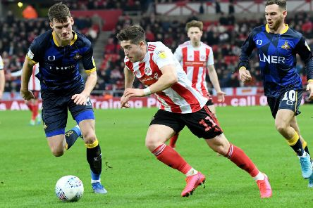 Sunderland's Lynden Gooch threatens Doncaster Rovers in Friday's 0-0 draw at The Stadium of Light.. Picture: Frank Reid.
