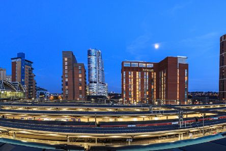 Leeds city skyline and rail tracks in the foreground, Leeds. ADOBE STOCK. Picture: Shahid A Khan
