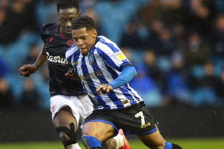 Back in the fray: Recalled Owlswinger  Kadeem Harris runs at the Reading defence'. Picture: Steve Ellis