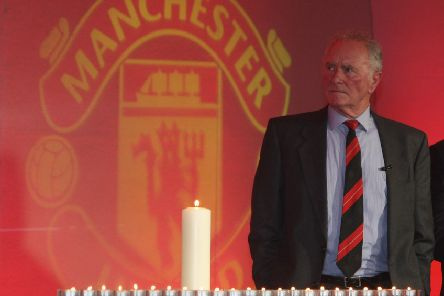 Harry Gregg  speaks during a memorial service to mark the 50th anniversary of the Munich Air Disaster. Photo by John Peters/Manchester United via Getty Images