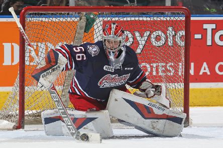 INCOMING: Jeremy Brodeur makes a save against while playing for the Oshawa Generals against the London Knights in the OHL in November 2015 . Picture : Claus Andersen/Getty Images