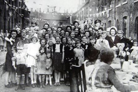 A street party in Kirkstall, Leeds'VE Day (May 8, 1945)