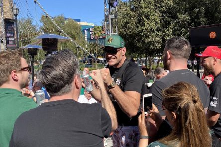 Tyson Fury greets fans in Las Vegas after winning the WBC World Heavyweight Championship the previous night at the MGM Grand.