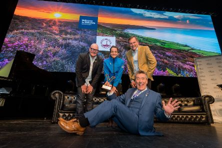 Actor Dominic Brunt, cyclist Lizzie Deignan, Sir Gary Verity, and panto star Billy Pearce at the Y18 event