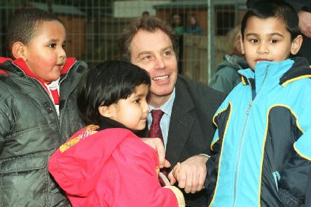 Tony Blair's flagship programme of Sure Start children's centres has been 'hollowed out' by cuts, a report by The Sutton Trust has found. PIC: PA