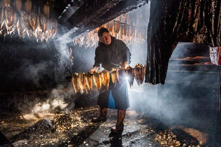 Derek Brown, Co-Owner and the 5th generation of the famous Fortunes Kippers, Henrietta Street, Whitby.