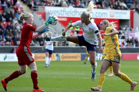 Sweden goalkeeper Hedvig Lindahl makes a save ahead of England's Rachel Daly, who was born in Harrogate, during the Women's International Friendly match at the AESSEAL New York Stadium, Rotherham (Picture: Tim Goode/PA Wire)