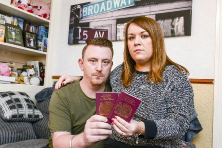 Martyn and Ruth Barnett who were given just 12 hours notice that US authorities would not let Martyn into the country. Cancelling their 2500 holiday.