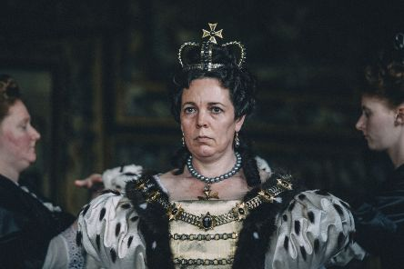 "Olivia Colman in a scene from the film ""The Favourite."""