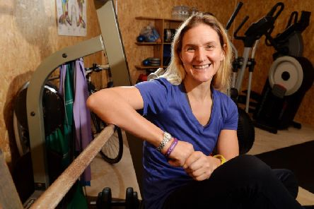 Kim Leadbeater at her home gym in Gomersal. Picture: Bruce Rollinson