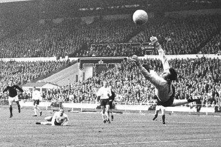 England goalkeeper Gordon Banks saves a shot from Scotland's Denis Law at Wembley in April 1967. Picture: Douglas Miller/Keystone/Getty Images)