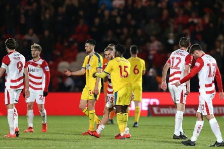 Doncaster Rovers'players show their frustration after losing to Premier League Crystal Palace at the Keepmoat. Picture: James Wilson/Sportimage