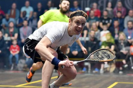 James Willstrop in action during his AJ Bell British National Squash Championships final triumph over Daryl Selby. Picture:Steve Cubbins