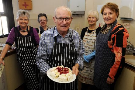 SVS  volunteers pictured in the kitchen at Sherburn Methodist Church. Picture by Simon Hulme