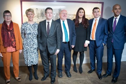 Seven MPs including Angela Smith (second left) broke away from Labour on Monday to form a new Independent Group in Parliament.