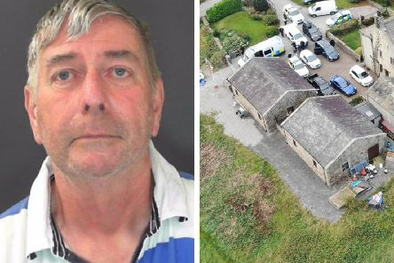Geoffrey Crossland and his Padside Green Farm which was searched by police.